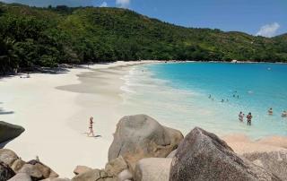 Prestine beach Praslin Seychelles