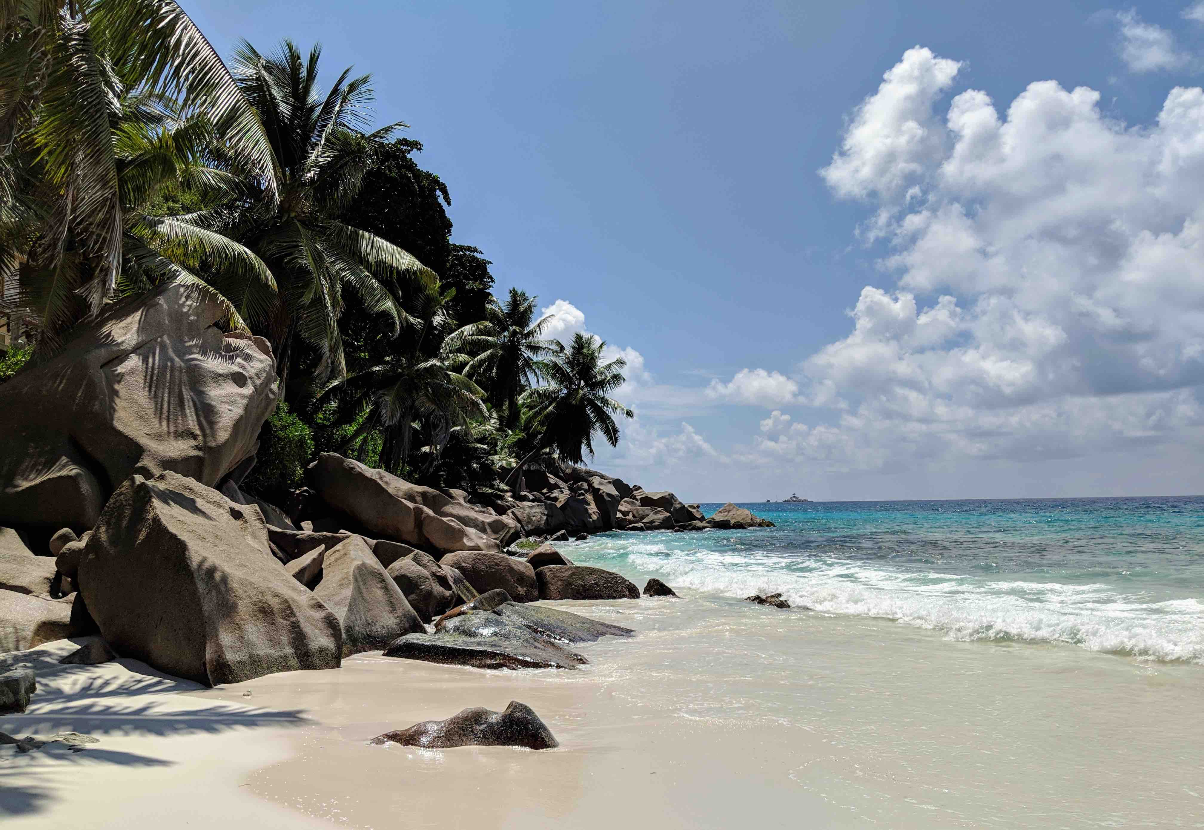 well known beach La Digue