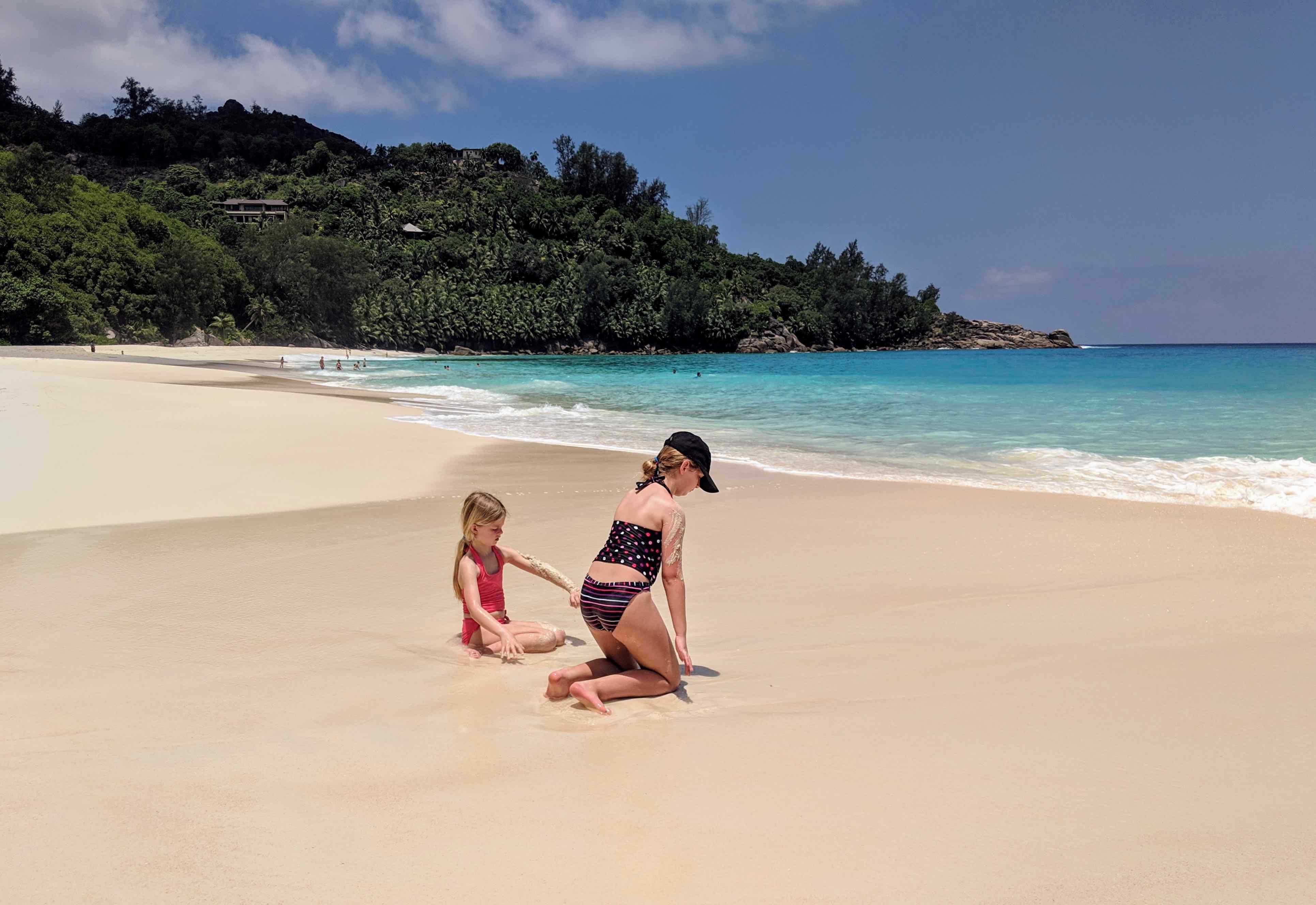 Kids playing beach Seychelles