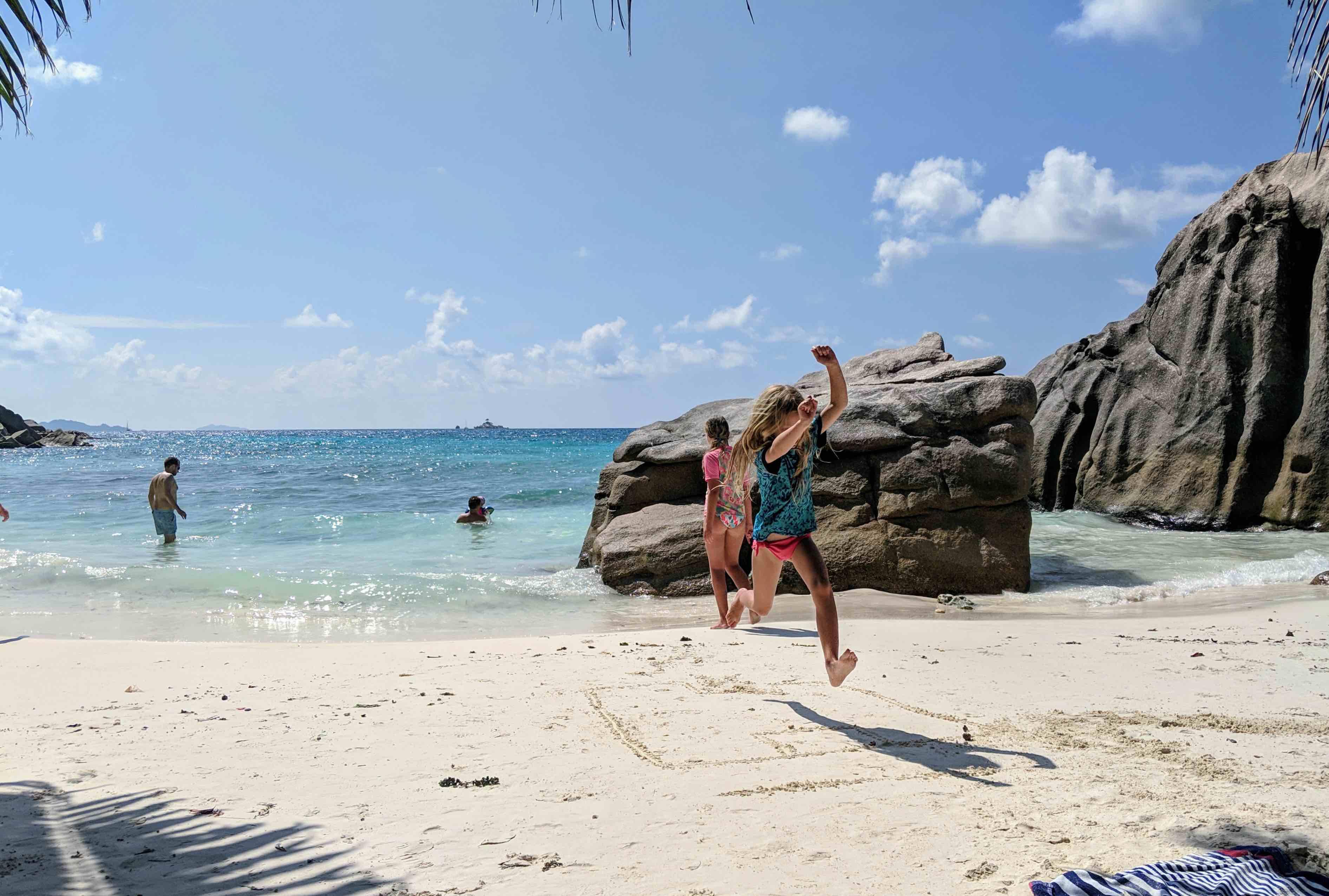 Playing beach Seychelles