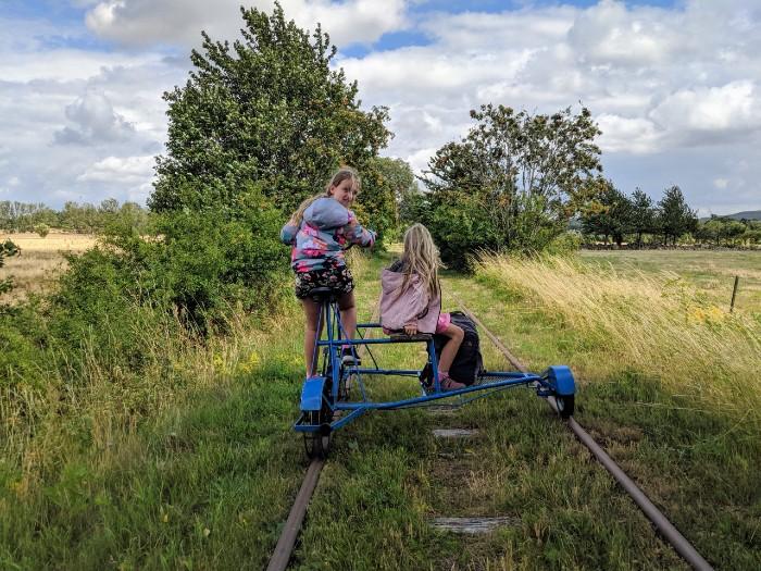 biking railway tracks