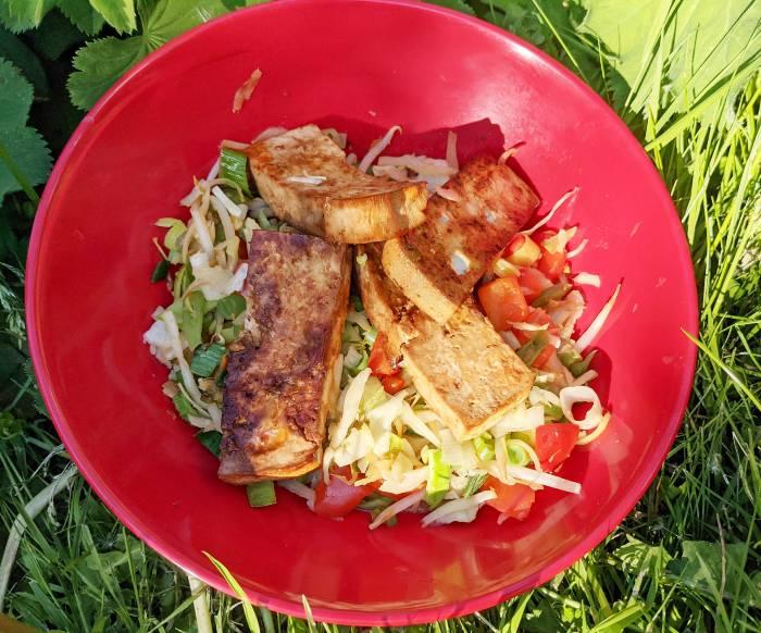 Vegan lunch camping