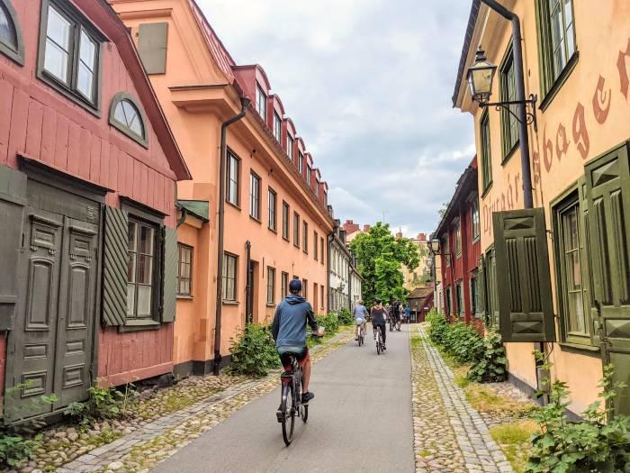 houten huisjes in Djurgårdsstaden Stockholm
